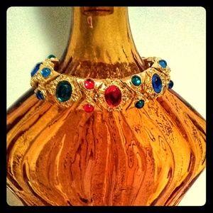Vintage Gold & Stone Red Blue & Green Bracelet